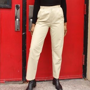 Vintage Cream Colored Leather Pants